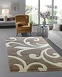 Moderner Designer Teppich Wohnzimmer Kurzflor Meliert 3D Konturenschnitt - 160x230 cm - schadstofffrei - Braun Beige