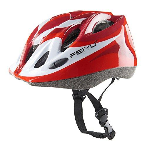 Babimax Seguridad Ventilación Casco con Correa Ajustable para Mountain Road Ciclismo Equitación Equipo de Protección de Bicicleta Patinaje Skate Deportes para Niños (Rojo)