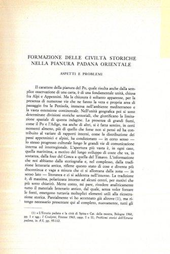 Formazione delle civilta' storiche nella Pianura Padana orientale. Aspetti e problemi.