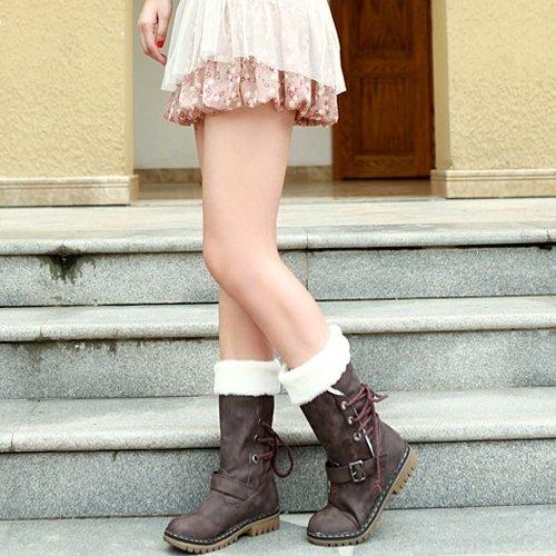 Minetom Donna Neve Stivali Punta Rotonda Pelliccia Autunno Inverno Snow Boots Female Moda Flats Shoes Grigio