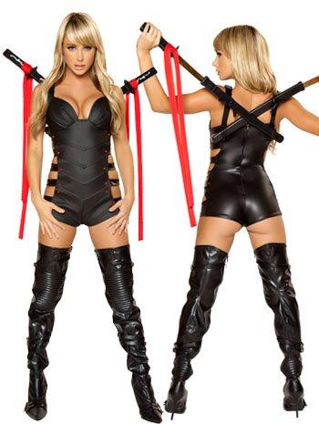 (Sexy Ninja Schwertkämpferin Kostüm - schwarz - Medium)