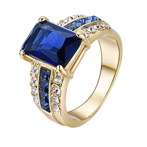 Yoursfs Bague femme bleu 50mm Or plauqé Solitaire en Saphir de synthèse Bijoux fantaisie comme cadeau ou accessoire