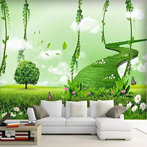 Lsfhb Benutzerdefinierte Fototapete Moderne Grüne Wald Trail 3D Wandbild Tapete Wohnzimmer Sofa Hintergrund Wand Dekoration Papel De Parede-280X200Cm