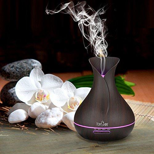 Tomshine 400ml Aroma Diffusor mit Holzmaserung   Flüsterleise – Einstellbar – mit 7 Lichtfarben - 9