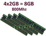 Dual Channel Kit: 4 x 2 GB = 8GB 240 pin DDR2-800 DIMM (800Mhz, PC2-6400), TOP MARKEN - JE NACH VERFÜGBARKEIT - TOP PREIS - 100% kompatibel zu DDR2-667 PC2-5300 / DDR2-533 PC2-4200