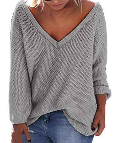 YDCQY Sweater Frühling Herbst Pullover Frauen Reizvolle V-Ausschnitt Oberteile Langarm Lockerer Schnitt Pulli Normallacks Strick Tuniken Tops