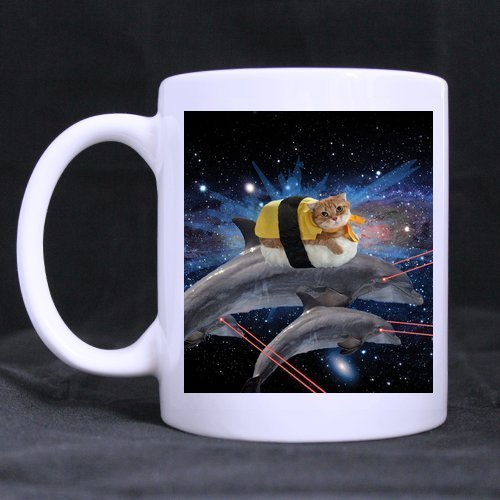 er Day Gifts Grumpy Hipster Cat with Dolphins Tea or Coffee Cup 100% Ceramic 11-Ounce White Mug ()