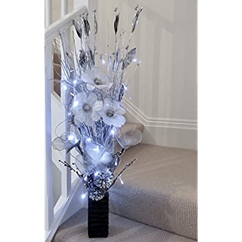 Link Products - Vasi in legno con fiori e erba artificiali e luci LED, Bright Silver, 85 cm - Silver Flower Vasi