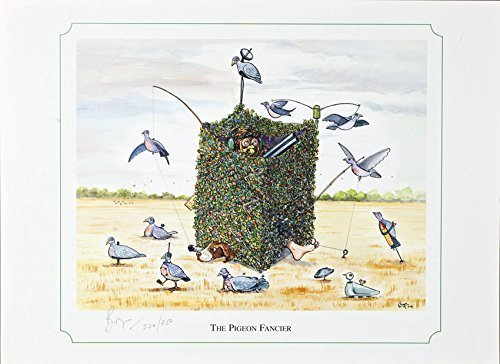 the pigeon fancier shooting or hunting themed cartoon limited edition and signed original print by bryn parry perfect gift for the downstairs loo study