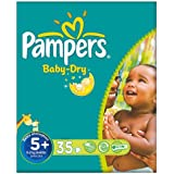 Pampers Baby Dry taille 5 + (13-27 kg) 3x35 par paquet Essential Pack de Junior Plus