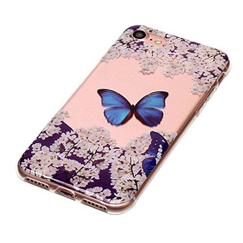 iPhone 8 Hülle Silikon, iPhone 7 Case, Rosa Schleife Ultra Dünn Clear Schutzhülle Schale Case für Apple iPhone 7 iPhone 8 Schale Tasche Premium TPU Silikon Backcover Schutz Bumper Handyhülle mit Schön 1 - Blauer Schmetterling