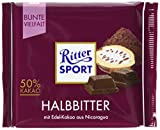 RITTER SPORT Halbbitter (12 x 100 g), Bitterschokolade mit 50% Kakao, zart-herbe, dunkle Tafelschokolade, Schokolade aus edlen Kakaobohnen