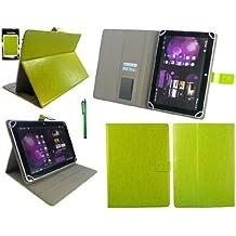 Emartbuy® Miia Tab MT-113G 10.1 Pollice Tablet Universale Serie Verde Angolo Multi Esecutivo Wallet Portafoglio Custodia Case Cover con Scomparti per Carte di Credito + Verde Stilo
