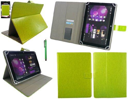 Emartbuy® Grün Eingabestift + Universalbereich Grün Multi Winkel Folio Executive Case Cover Wallet Hülle Schutzhülle mit Kartensteckplätze Geeignet für Odys Visio 10.1 Zoll Tablet