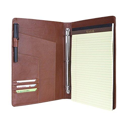 Coface Ultra Slim 3 Ring Binder Portfolio Case, Vollnarbiges Leder mit Klemmbrett für Organisieren lose Dokumente Business Organizer (3 Seite Binder)