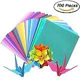 ineith Origami Papier Faltpapier Einseitig 100 Blätter 50 Verschiedene Farben für DIY Kunst Handwerk