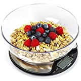 Duronic Kitchen Scale KS3000 5KG Stainless Steel Round Digital Display 5KG with 18.5cm Diameter Clear Mixing Bowl | Postal Scale Capacity: 5kg / 11lb