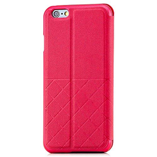 Saxonia Tasche + Panzerglas Apple iPhone 6 / 6S Hülle Case Flip View Cover Edle Schutzhülle mit Fenster Pink Rot