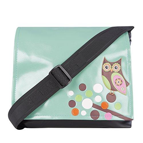 Shagwear Junge-Damen Umhängetasche, Schultertasche, Cross Body Bag:Verschiedene Farben und Designs: (Eule Hell-Türkis/ Retro Owl) (Dinge, Die Mädchen Gerne)