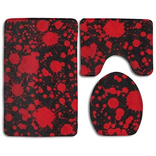Classic Collection Teppich (RedBeans Classic Blood Splatter Horror Schwarz 3-TLG Soft Bad Teppich Set inkl. Badteppich Contour Teppich Deckel WC-Deckelbezug Home Dekorative Fußmatte)
