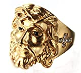 FNJED Herren Ringe Fashion Diamant Jesus Titan Stehlen Ringe,Gold,Größe 54 (17.2)