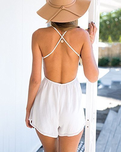 Femme Combinaison Lace à Bretelle Col V Backless Plage Jumpsuit Combishort Playsuit Rompers Blanc