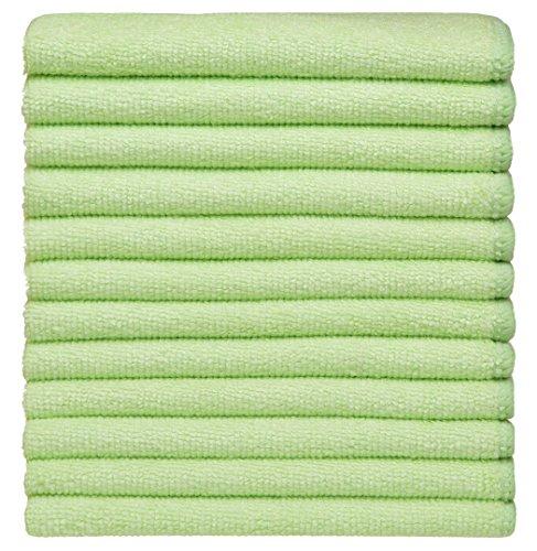 Sinland panno in microfibra multiuso asciugapiatti panno di pulizia canovaccio da cucina 30cm X 30cm verde chiaro confezione da 12