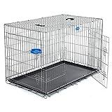SONGMICS Hundekäfig Hundebox Transportbox Drahtkäfig Katzen Hasen Nager Kaninchen Geflügel silberfarben XXXL PPD48W