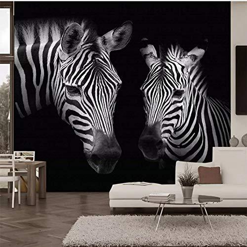 Benutzerdefinierte Fototapete 3D Retro Vintage Schwarz Und Weiß Zebra Wandbild Wandverkleidung Vlies Schlafzimmer Wandbild Home Decor Wall Paper Möbeldekoration (W)140x(H)100cm Black Zebra Illusion