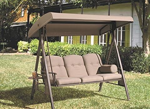 Balancelle   SORARA   3-places   Marron / Gris   construction extra solide   Chaise balançoire de jardin à bascule meubles de jardin banc