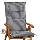 4 Auflagen mit Kopfpolster für Hochlehner Kettler Dessin 709 in grau gestreift (ohne Sessel)