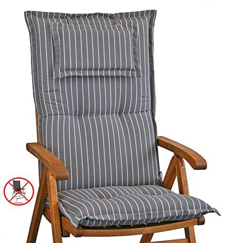 2 Auflagen mit Kopfpolster für Hochlehner Kettler Dessin 709 in grau gestreift (ohne Sessel)