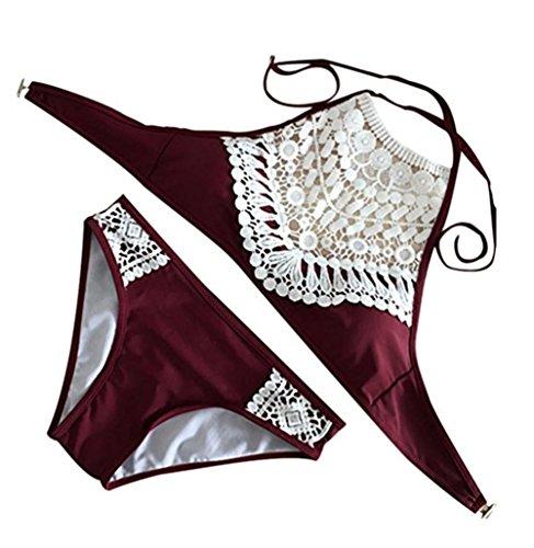 Y&L Sommer Strand Bikini-Sets Damen Spitze Vintage Bademode Padded Bra Schwimmen Tragen Badeanzüge Dunkel Rot