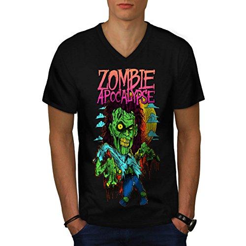 Zombie Apokalypse Horror Herren M V-Ausschnitt T-shirt | (Apokalypse Asyl Zombie)