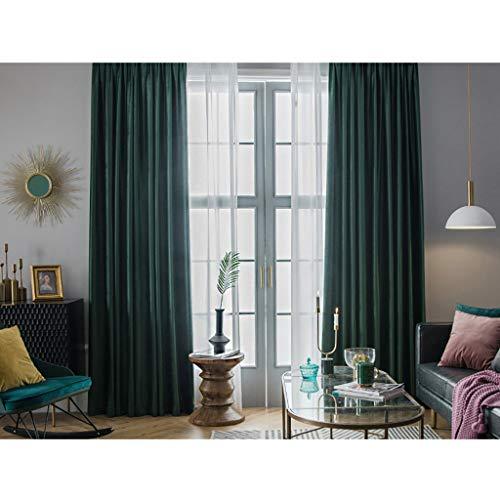 2 Panels Velvet Look Vorhänge, Haken Top Vorhänge, Bright Thread Look, Blackout Thermal Insulated Noise Reducing Window Behandlung für Schlafzimmer, Wohnzimmer, Esszimmer Green Velvet Top Hat