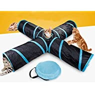 Beststar 4 Way Cat Tunnel, Large indoor outdoor Collapsible Pet Toy Crinkle Tunnel Tube with Storage Bag for Cat, Dog, Puppy, Kitty, Kitten, Rabbit #81266