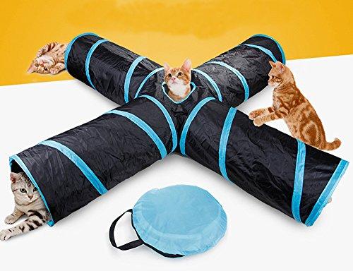 Beststar - Túnel de 4 vías para Gatos, tamaño Grande, para Interior y Exterior, Plegable para Mascotas, con Bolsa de Almacenamiento para Gato, Perro, Cachorro, Gatito, Conejo, 81266