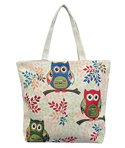 Eule Eulentasche Shopper Strandtasche mit 1 Fach und Reißverschluss*** 3 Eulen auf einem Ast*** Umhängetasche - VINTAGE LOOK / absolut cool und stylish - (3-fach-shopper)