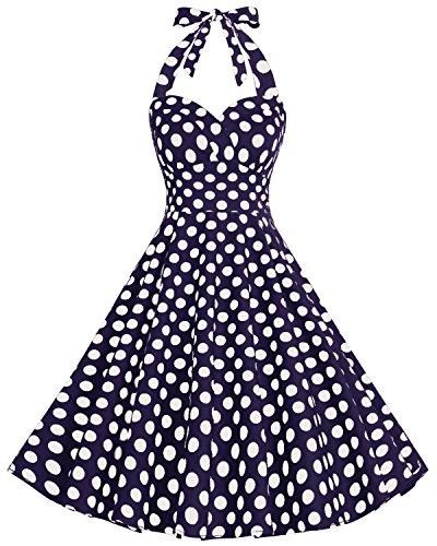Bbonlinedress Women's Retro Vintage Dress Style Audrey Hepburn 1950s Rockabilly Party Navy White BDot L