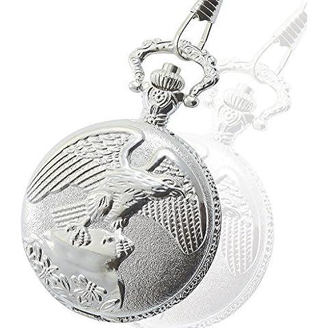 Bellos Orologio da tasca Quarzo Bianco Argento Metallo Analogo Aquila Uccello