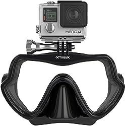 Octomask Unisexe sans Cadre Masque de GoPro pour plongée et plongée avec Tuba Fonctionne avec Hero2/Hero3/Hero3+ et Hero4Caméras, Noir, Taille Unique