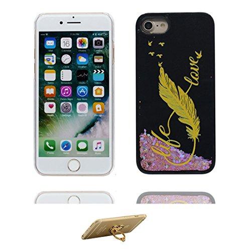 """Coque iPhone 6 Plus, [Bling Bling Glitter Fluide Liquide Sparkles Sables] iPhone 6s Plus étui Cover (5.5 pouces), iPhone 6 Plus Case (5.5""""), anti- chocs & ring Support -fleur Noir 4"""