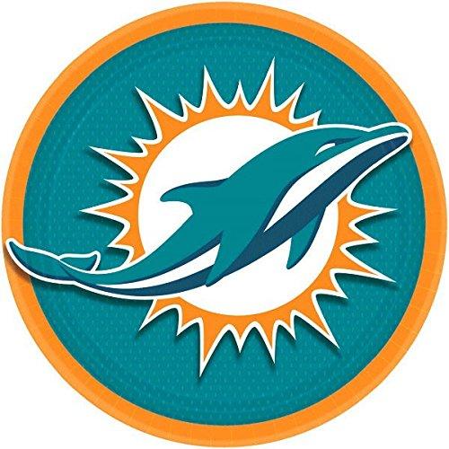 Amscan Miami Dolphins Lunch Teller NFL Football Sports Party Einweg Geschirr, Papier, 22,9cm rund, 8Stück.