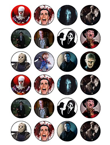 24 x classique horreur Films, Halloween comestible Cupcake Caketoppers