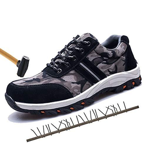 Preisvergleich Produktbild Minetom Unisex Sicherheitsschuhe Damen Herren Arbeitsschuhe Sportlich 200J Trittschutz Durchdringungskraft Verhindern 1200N Wanderhalbschuhe Wandern Schuhe Stahlkappe Schutzschuhe Schwarz 42 EU
