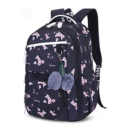 KHDJH backpackCute Schulranzen für Teenager -Schule -Rucksack für Mädchen -Pelz -Kugel -Dekoration KindertascheBlume -