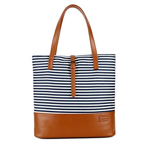 BAOSHA TB-02 Shopper Bag Canvas PU Leder Damen Handtasche / Umhängetasche Schultertasche Tote tasche Canvas College Bag für Studenten (Blau) (Bag Tote Shopper)