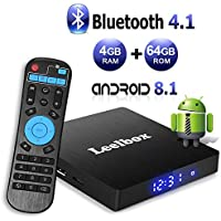 Android TV Box 8.1, Leelbox 2019 Newest Q4 MAX 4GB RAM+64GB ROM Smart TV Box RK3328 Quad-Core 64 Bits Support Bluetooth 4.1 2.4GHz Wifi 4K Full HD 3D H.265 with Wireless Remote Control
