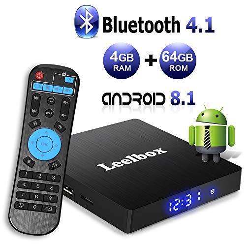 Android 8.1 TV Box - Leelbox Smart TV Box Q4 MAX 4 GB RAM & 64 GB ROM, Quad Core 64 bit Android Box Wi-Fi integrato/BT 4.1/ Box TV UHD 4K TV/USB 3.0 Media Player, Android Set-top-Box