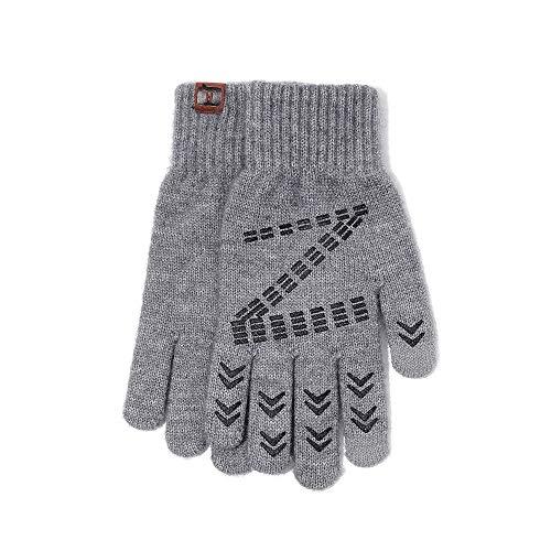 Winterhandschuhe für Männer, Knit Touch Screen Anti-Rutsch-Silikon-Gel - elastische Manschette - Thermal weicher Wolle Futter - dehnbares Material -